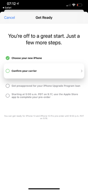 Apple iPhone 13 Upgrade Program - Carrier selection